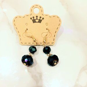 Navy Blue Iridescent Beaded Earrings